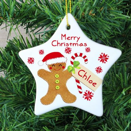 Personalised Gingerbread Man Ceramic Christmas Star Decoration